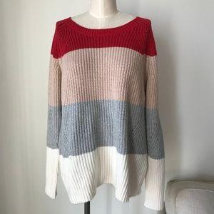 Lucky Brand Multi Stripe Knit Sweater Top